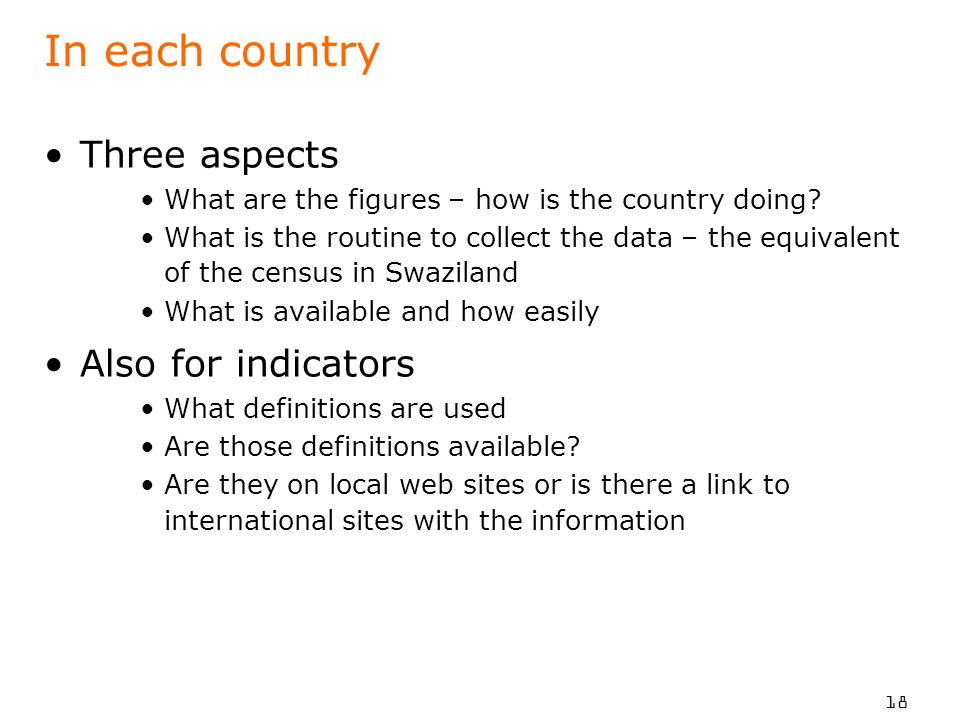 In each country Three aspects Also for indicators