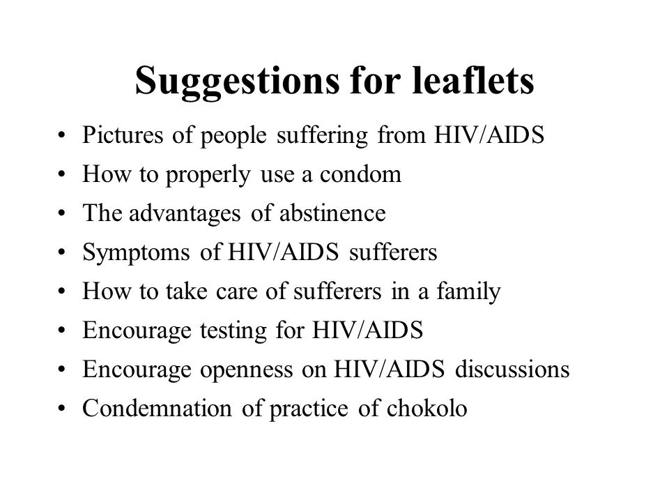 Suggestions for leaflets