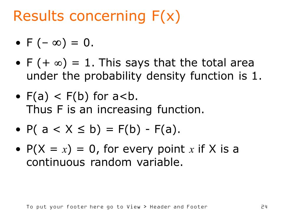 Results concerning F(x)