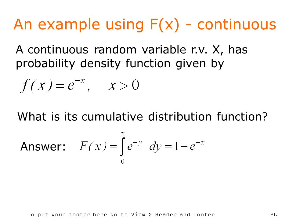 An example using F(x) - continuous