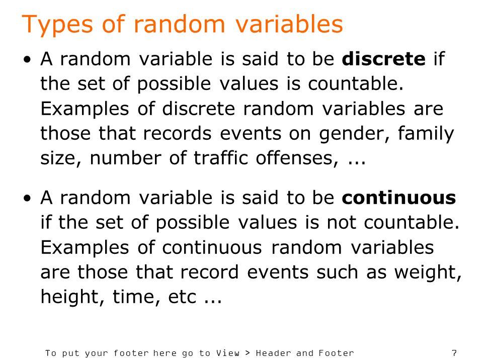 Types of random variables