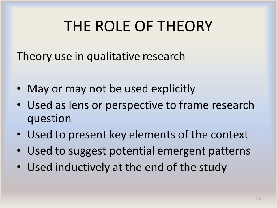 role of theory research papers This type of research aims to report a situation as it actually is in a role models practice comment understanding and critiquing qualitative research papers.