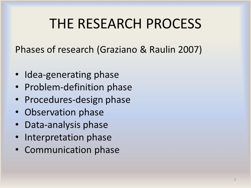 Stages of the research process 2 essay
