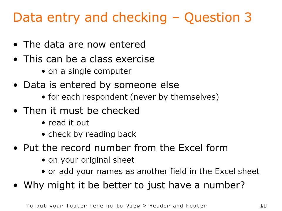 Data entry and checking – Question 3