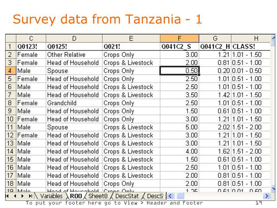 Survey data from Tanzania - 1