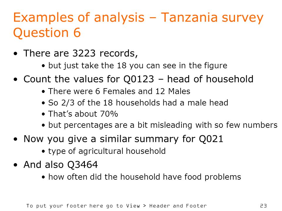 Examples of analysis – Tanzania survey Question 6