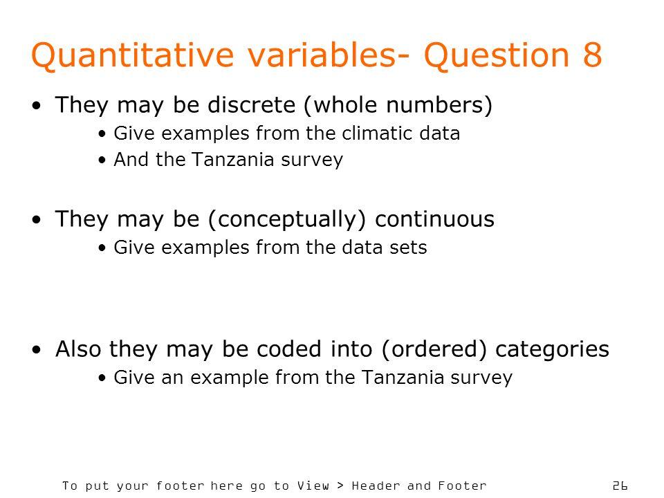 Quantitative variables- Question 8