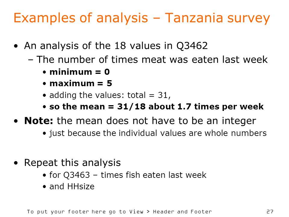 Examples of analysis – Tanzania survey