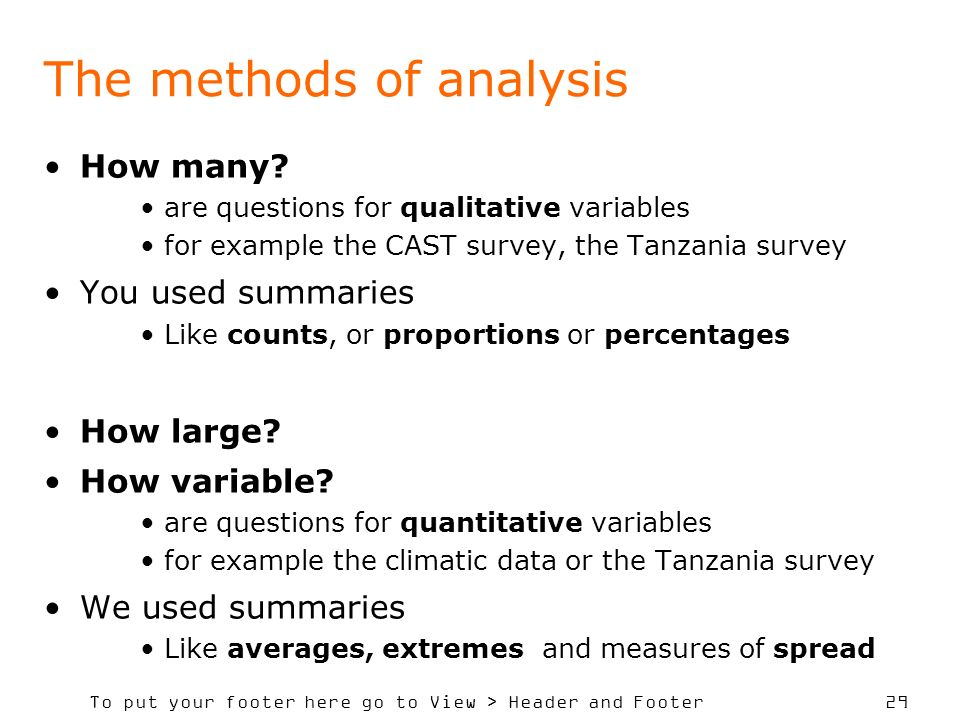 The methods of analysis