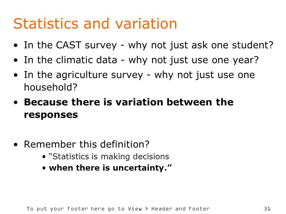 Statistics and variation