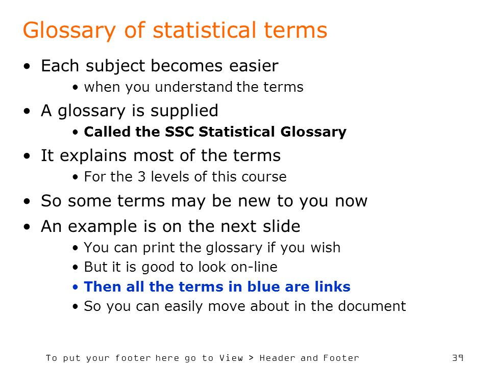 Glossary of statistical terms