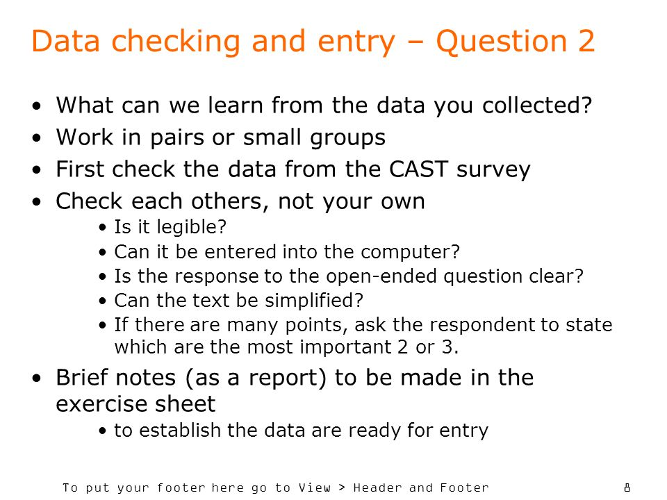 Data checking and entry – Question 2