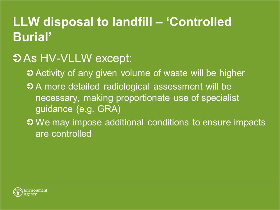 LLW disposal to landfill – 'Controlled Burial'