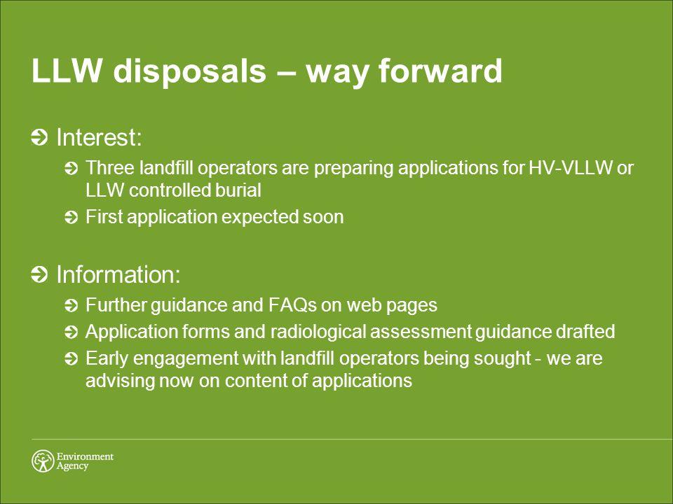 LLW disposals – way forward