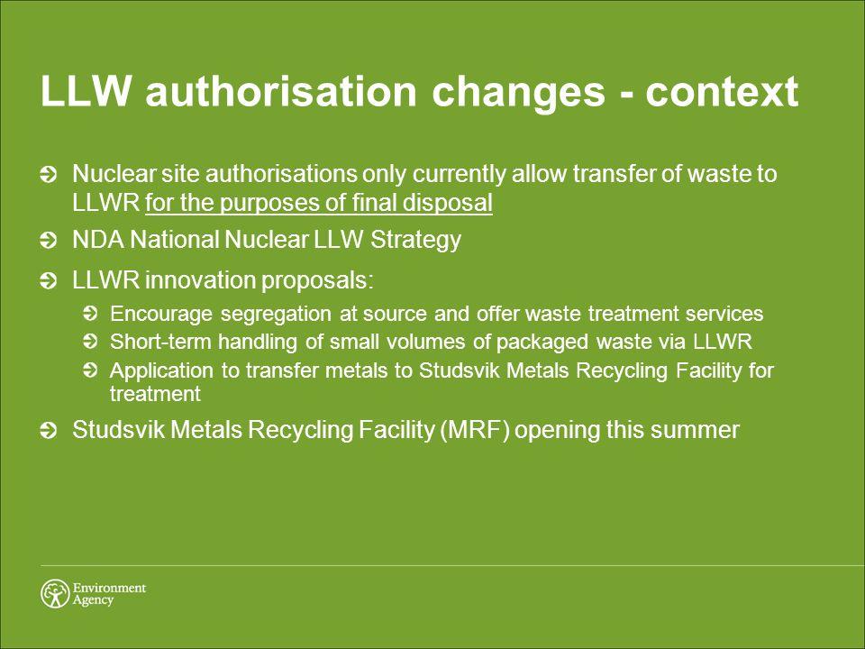 LLW authorisation changes - context