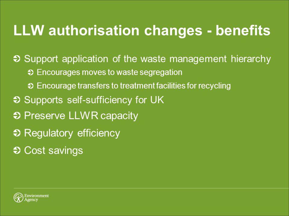 LLW authorisation changes - benefits