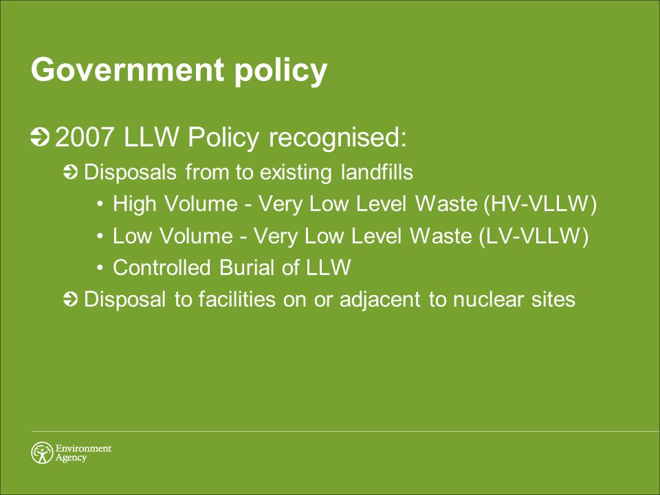 Government policy 2007 LLW Policy recognised: