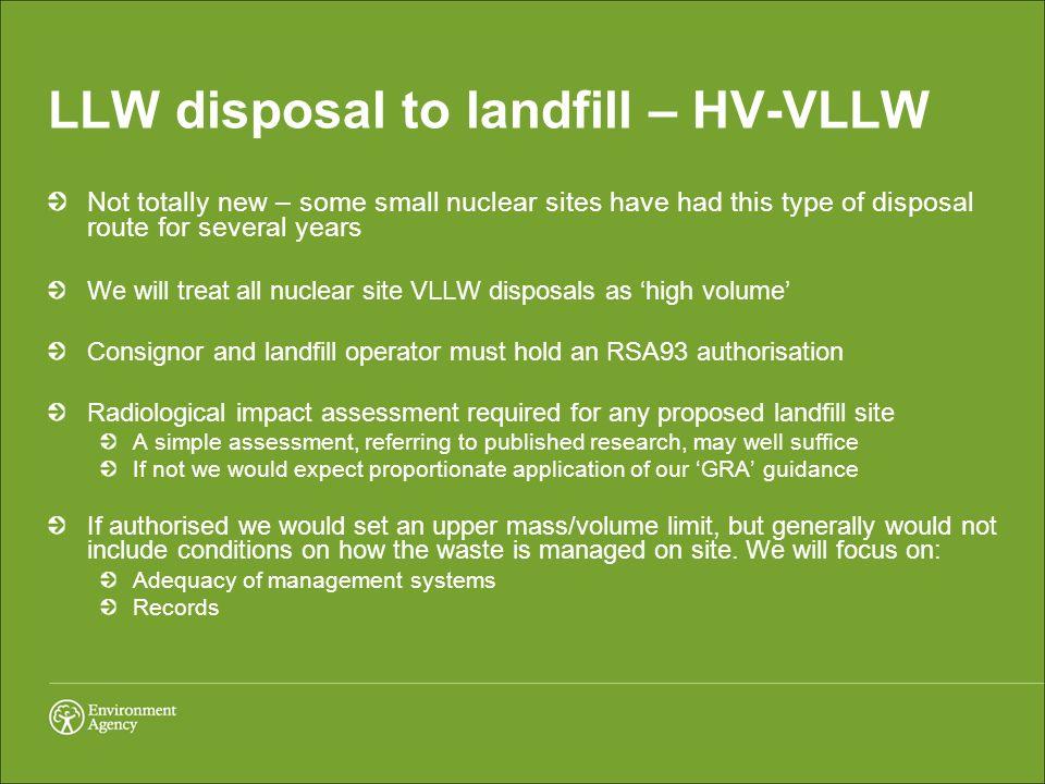LLW disposal to landfill – HV-VLLW
