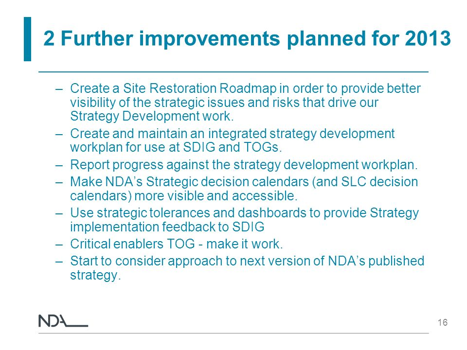 2 Further improvements planned for 2013
