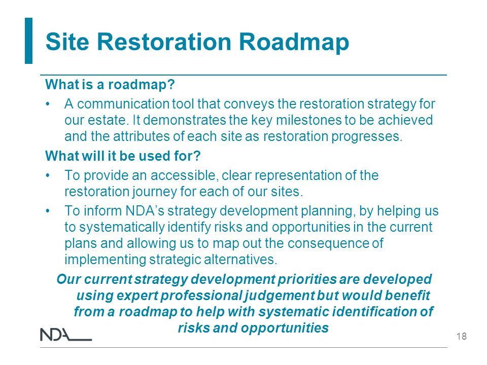 Site Restoration Roadmap