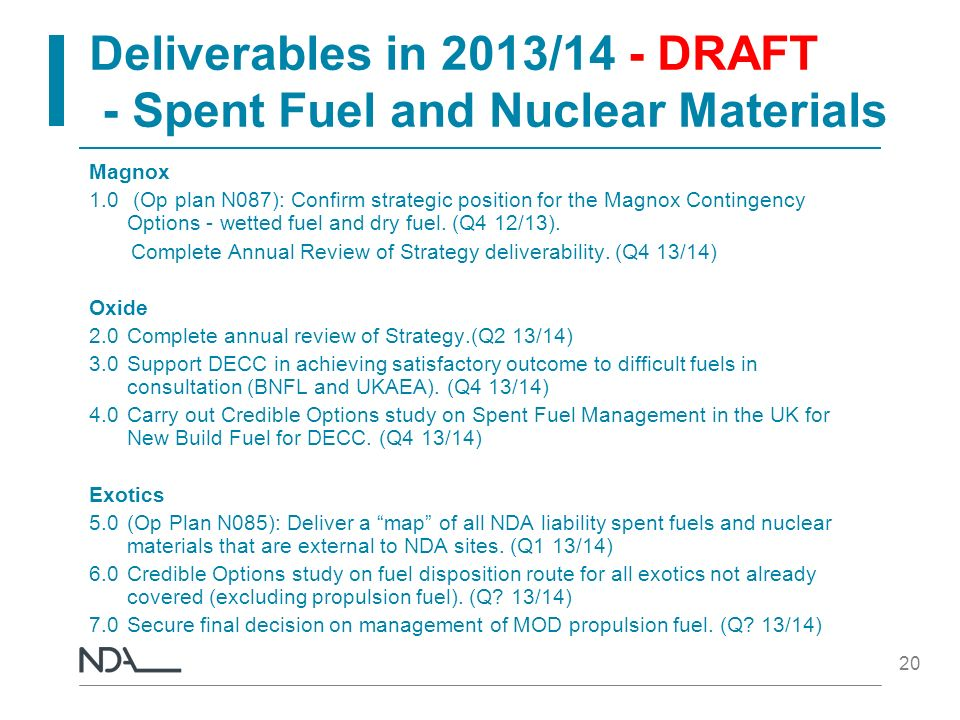 Deliverables in 2013/14 - DRAFT - Spent Fuel and Nuclear Materials