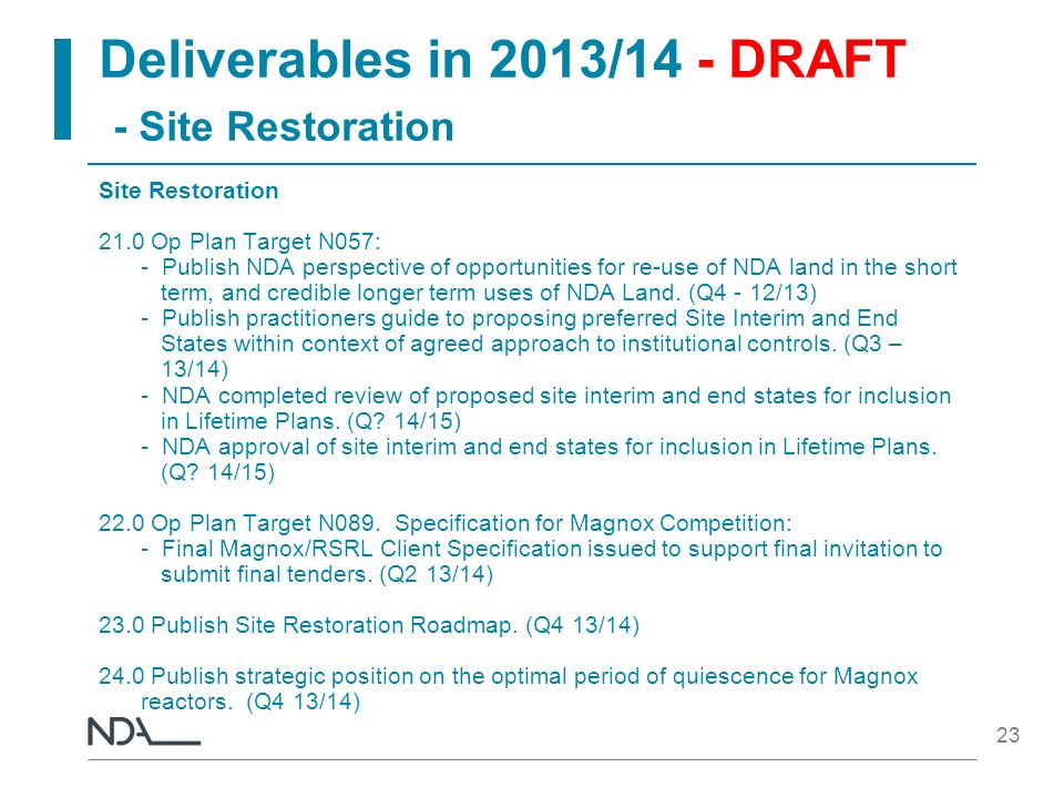 Deliverables in 2013/14 - DRAFT - Site Restoration