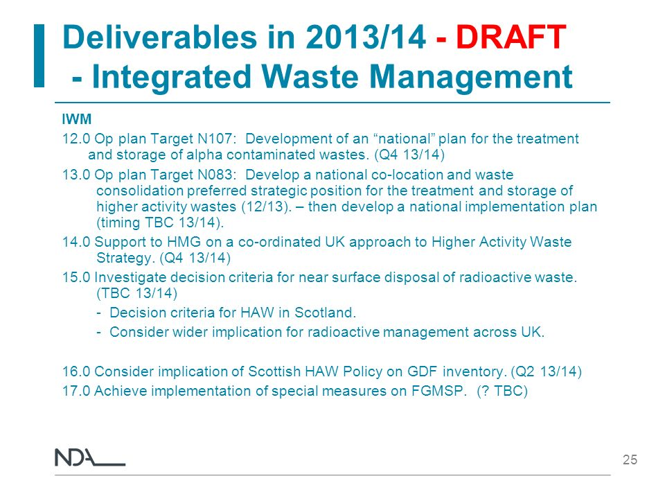 Deliverables in 2013/14 - DRAFT - Integrated Waste Management