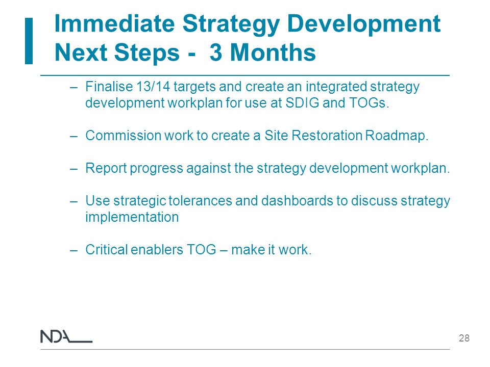 Immediate Strategy Development Next Steps - 3 Months