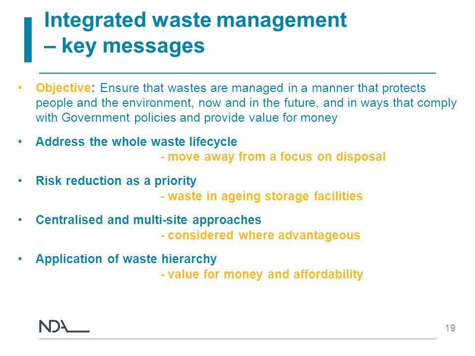 Integrated waste management – key messages