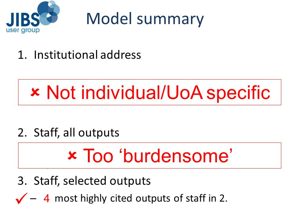  Not individual/UoA specific