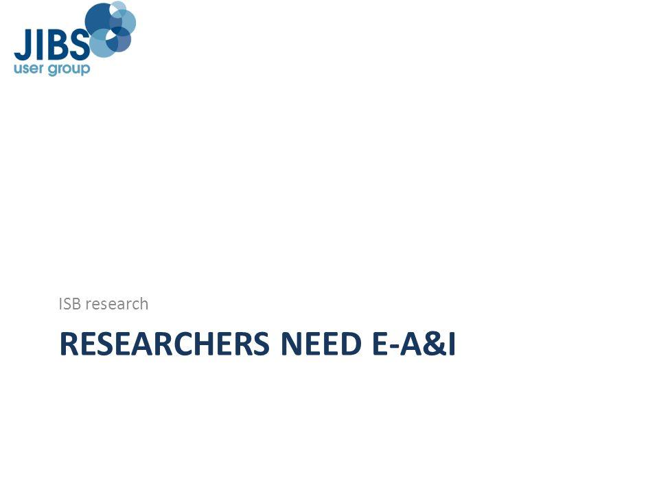RESEARCHERS NEED E-A&I
