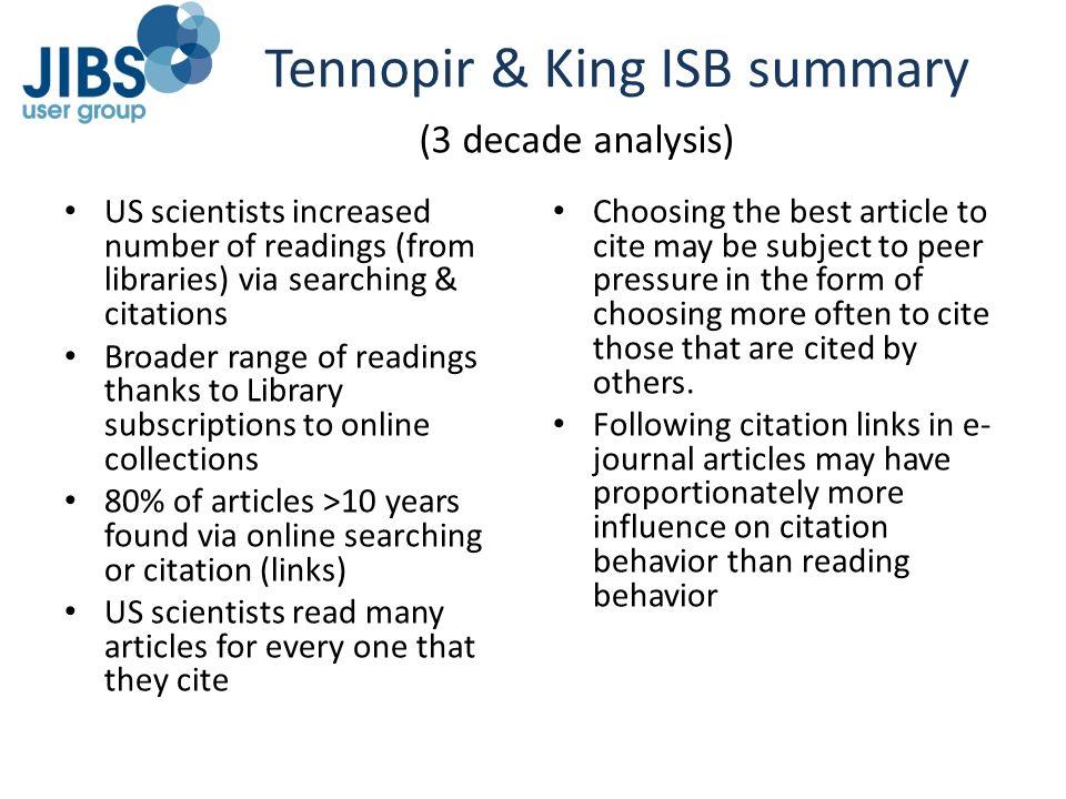 Tennopir & King ISB summary