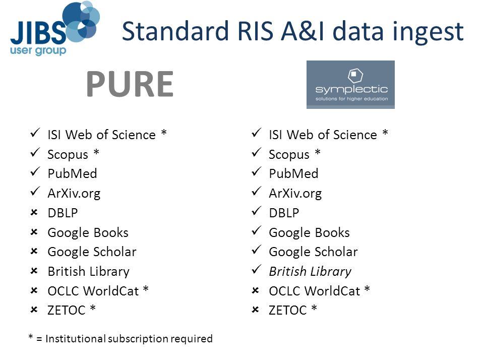 Standard RIS A&I data ingest