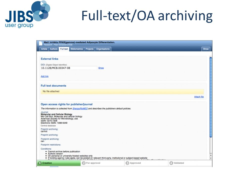 Full-text/OA archiving
