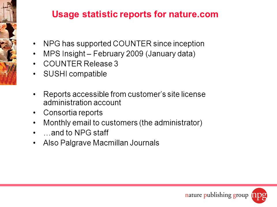 Usage statistic reports for nature.com