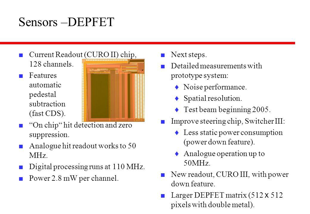 Sensors –DEPFET Current Readout (CURO II) chip, 128 channels.