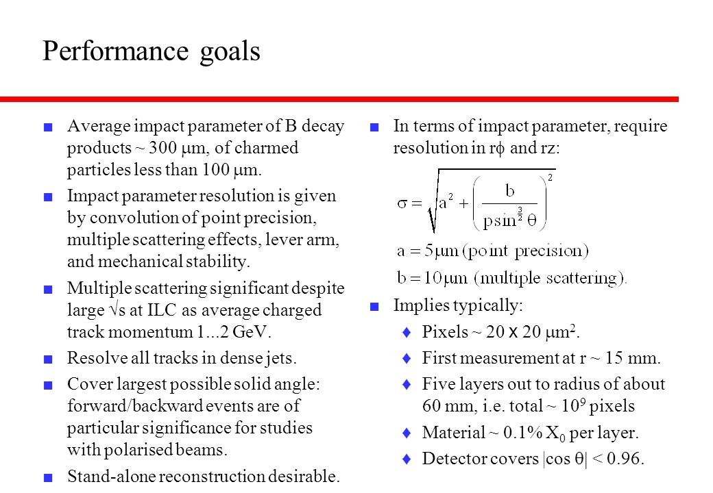 Performance goals Average impact parameter of B decay products ~ 300 mm, of charmed particles less than 100 mm.
