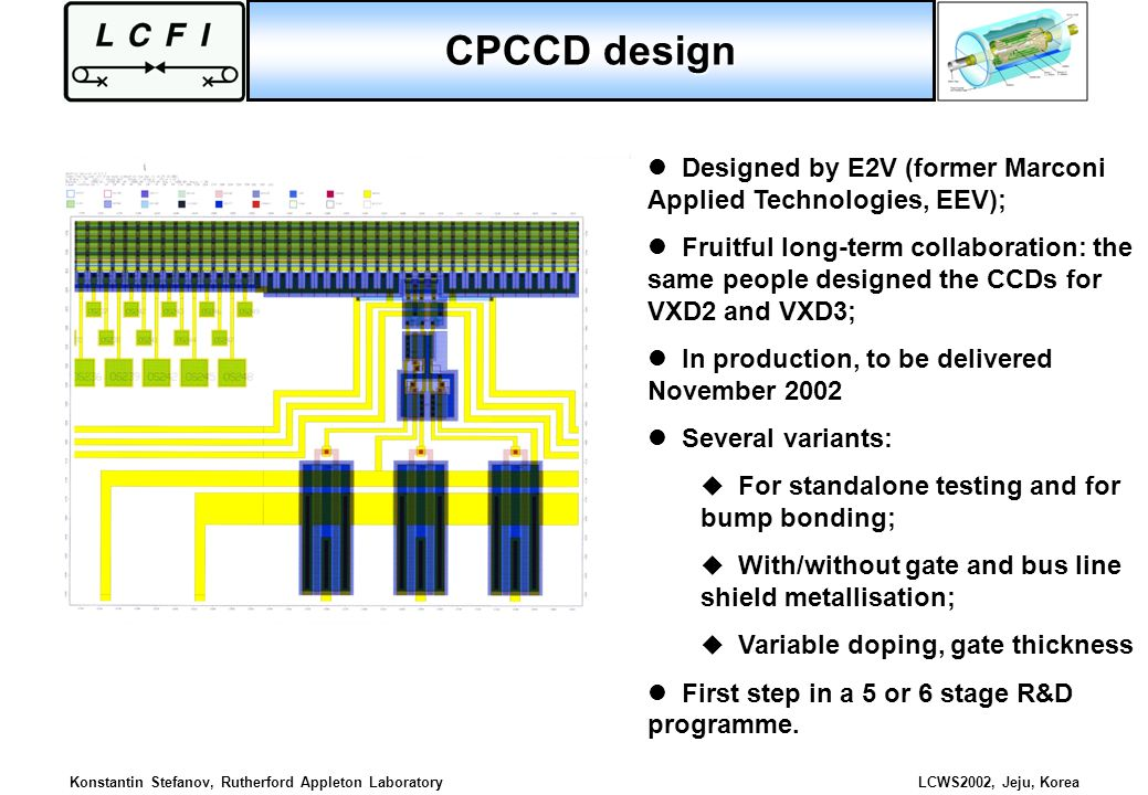 CPCCD design Designed by E2V (former Marconi Applied Technologies, EEV);
