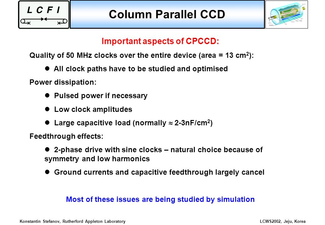 Column Parallel CCD Important aspects of CPCCD: