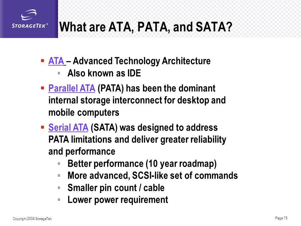 What are ATA, PATA, and SATA