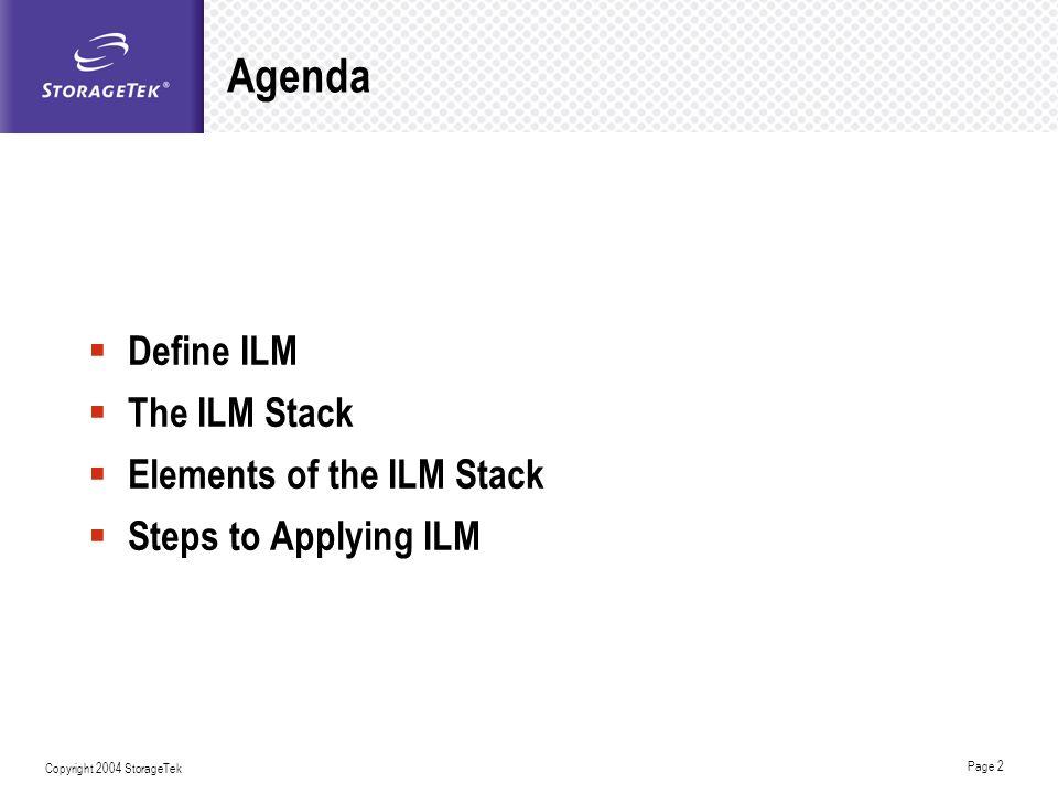 Agenda Define ILM The ILM Stack Elements of the ILM Stack