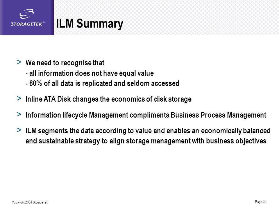 ILM Summary We need to recognise that - all information does not have equal value - 80% of all data is replicated and seldom accessed.