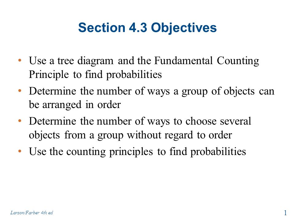 Section 43 objectives use a tree diagram and the fundamental section 43 objectives use a tree diagram and the fundamental counting principle to find probabilities ccuart Images