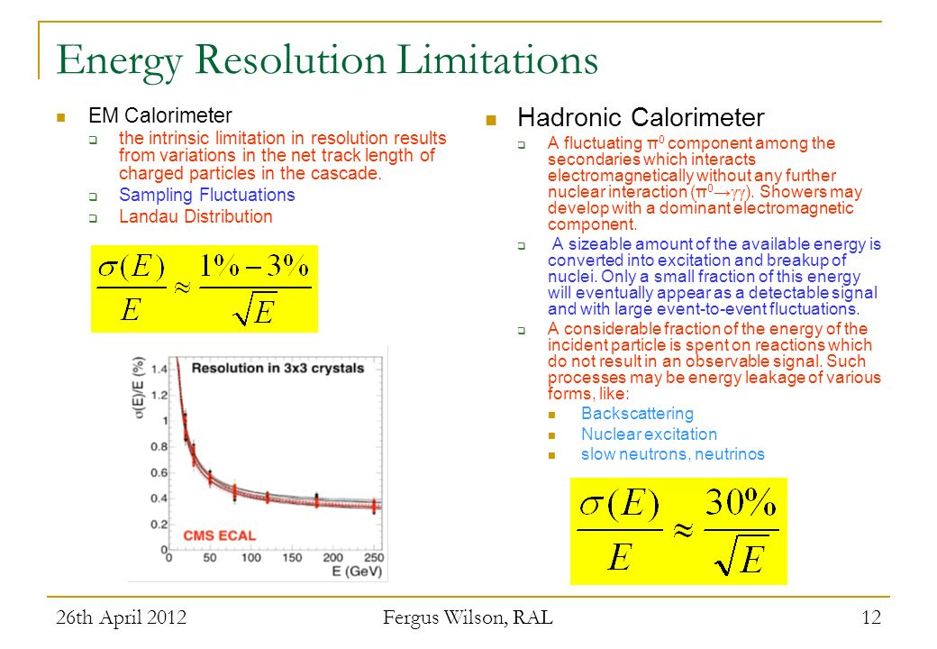 Energy Resolution Limitations