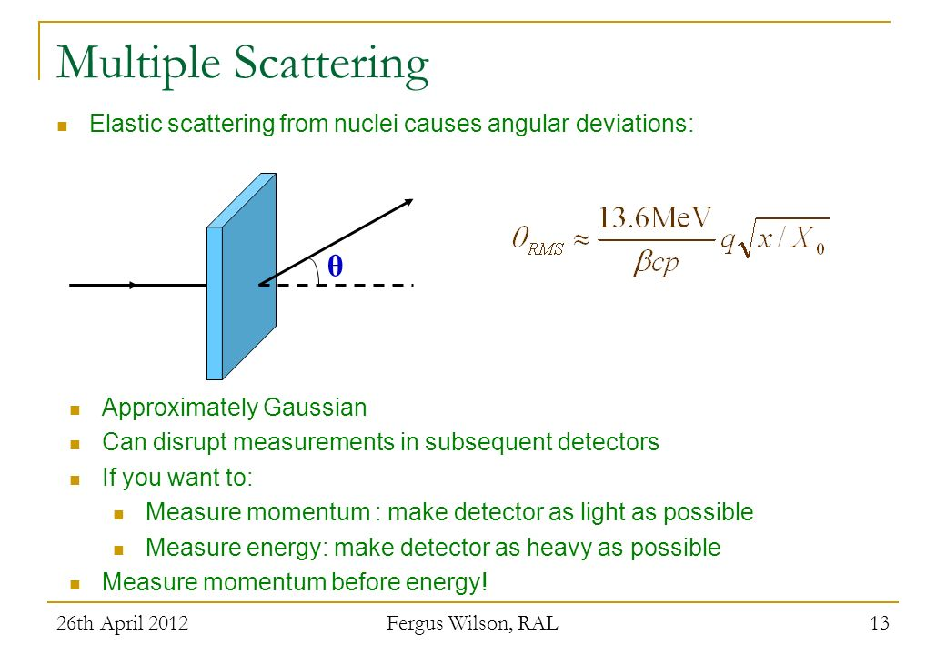 Multiple Scattering Elastic scattering from nuclei causes angular deviations: θ. Approximately Gaussian.
