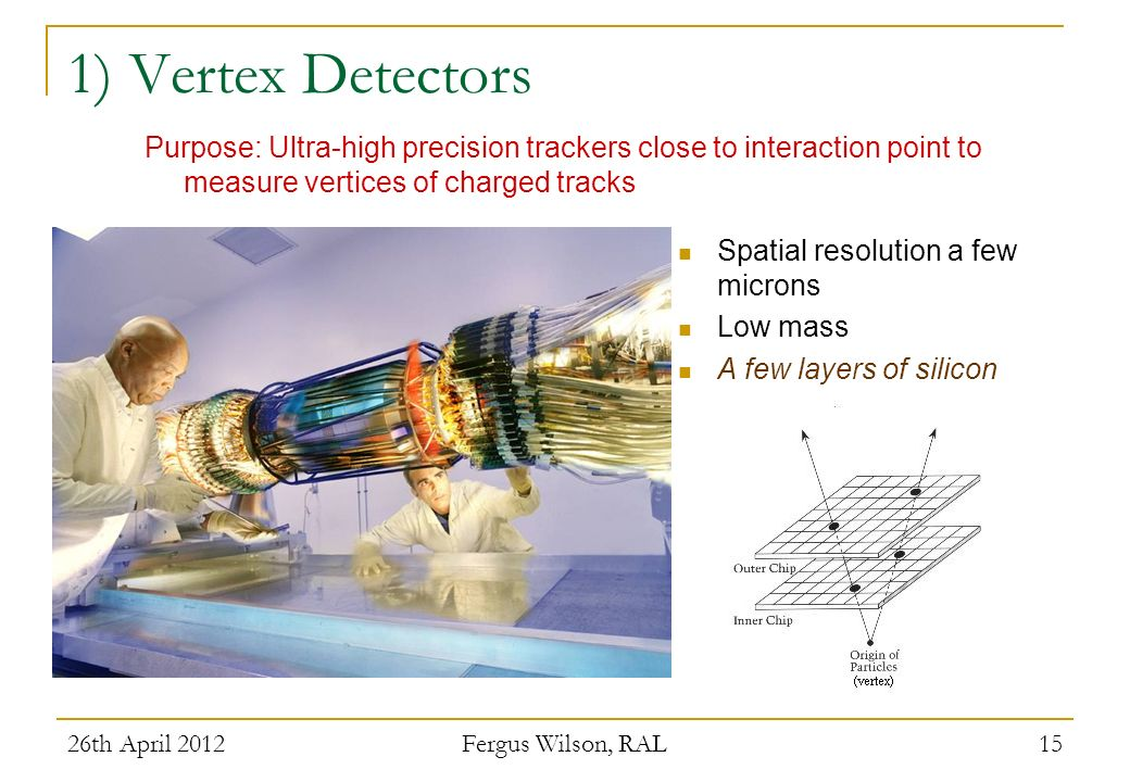 1) Vertex Detectors Purpose: Ultra-high precision trackers close to interaction point to measure vertices of charged tracks.