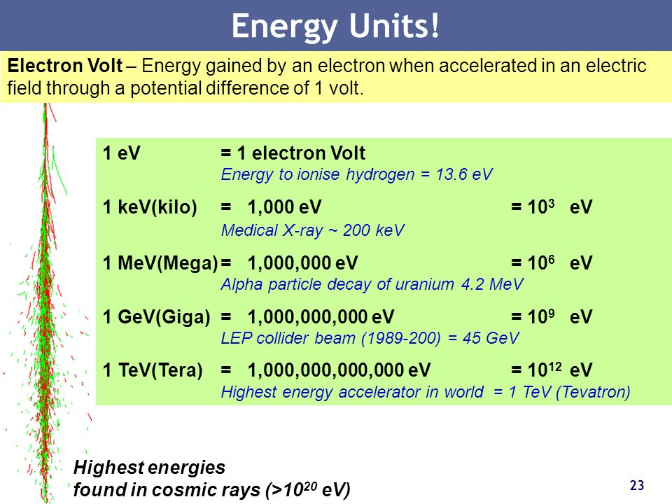 Energy Units! Electron Volt – Energy gained by an electron when accelerated in an electric field through a potential difference of 1 volt.