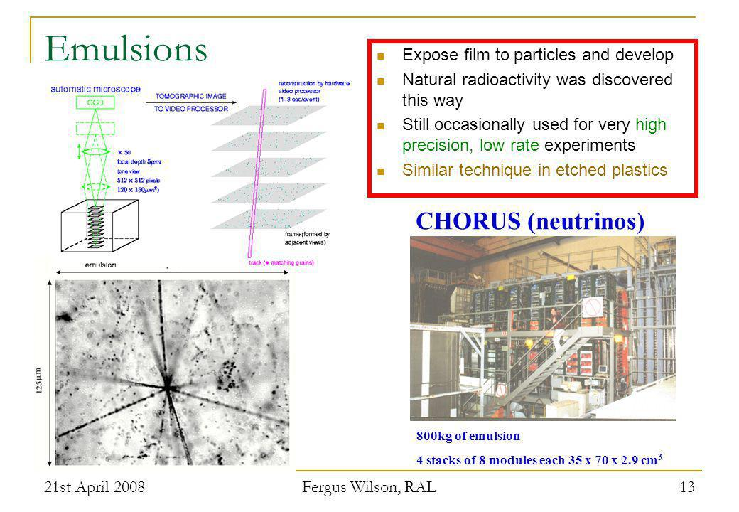 Emulsions CHORUS (neutrinos) Expose film to particles and develop
