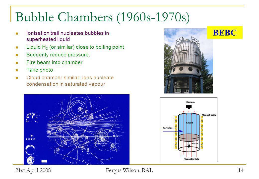 Bubble Chambers (1960s-1970s) BEBC 21st April 2008 Fergus Wilson, RAL
