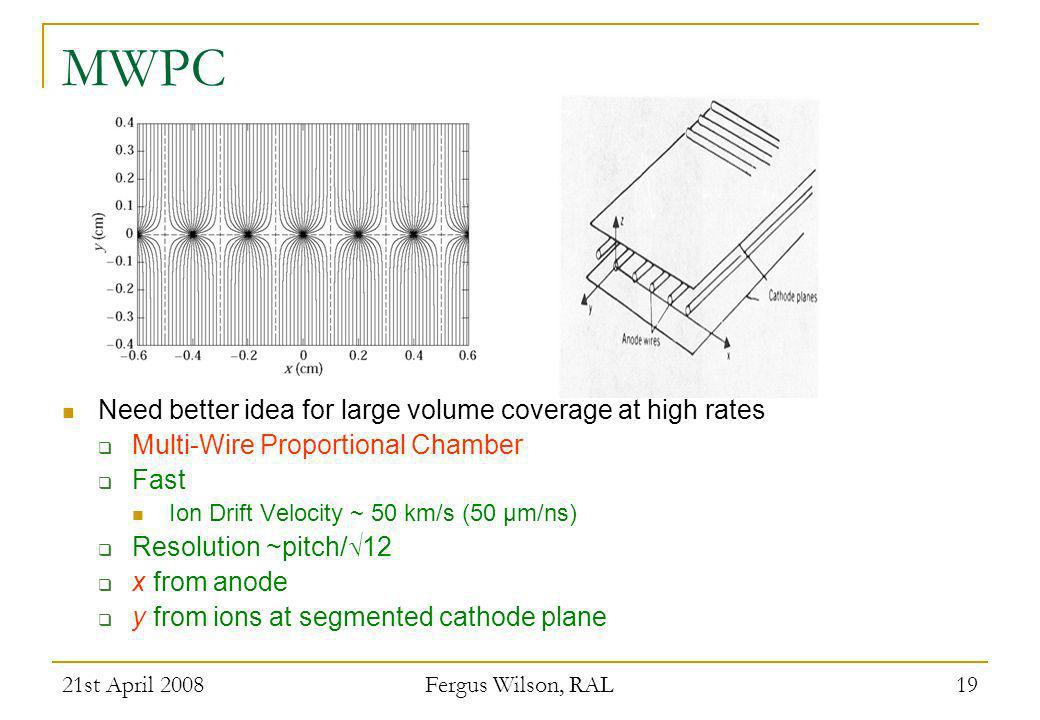 MWPC Need better idea for large volume coverage at high rates